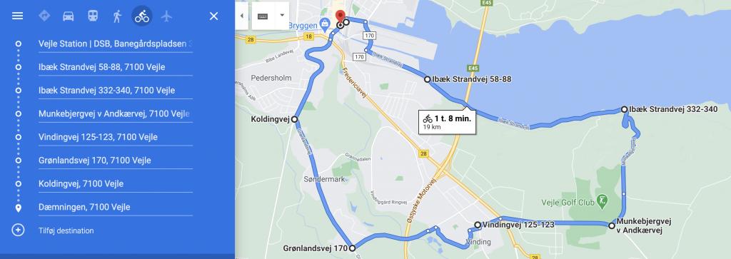 Google Maps cykelrute